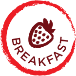 round red circle jaggered edge with the word breafast and strawbeery centered