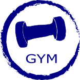 round blue circle jaggered edge with the words gym and dumb bell weight centered