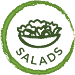 round green circle jaggered edge with the words Salads and salad bowl centered