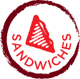 round burgendy circle jaggered edge with the words Sandwiches and quatreted sandwich centered