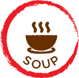 round red circle jaggered edge with the word soup and bowl with steam rising centered