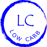 rough blue circle enclosing words Low Carb and symbol LC